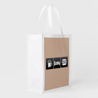 Drink, Sleep and Hamburgers Grocery Bags