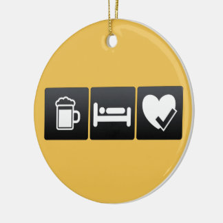 Drink, Sleep and Heart Check Ups Double-Sided Ceramic Round Christmas Ornament