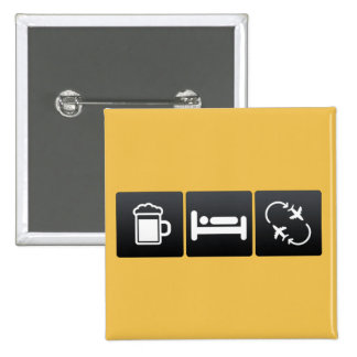 Drink, Sleep and jetsetting 2 Inch Square Button