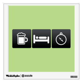 Drink, Sleep and Magnetic Compasses Wall Decal