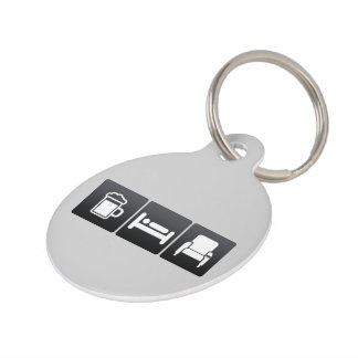 Drink, Sleep and Movie Theaters Pet ID Tag
