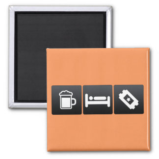 Drink, Sleep and Movie Tickets 2 Inch Square Magnet