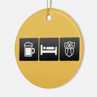 Drink, Sleep and Owes Double-Sided Ceramic Round Christmas Ornament