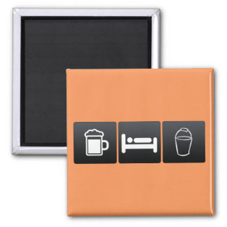Drink, Sleep and Pails 2 Inch Square Magnet