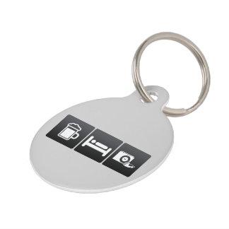 Drink, Sleep and Radios Pet ID Tags