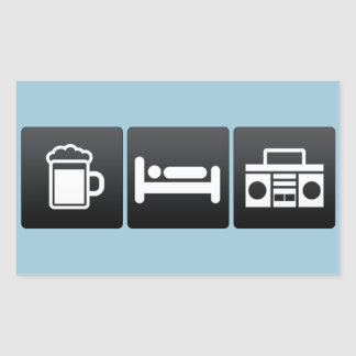 Drink, Sleep and Recording Tapes Rectangular Sticker