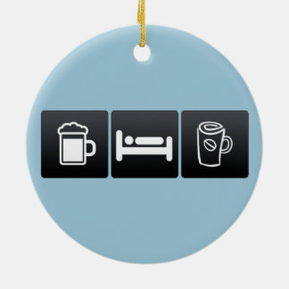 Drink, Sleep and Sipping Coffee Double-Sided Ceramic Round Christmas Ornament