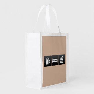 Drink, Sleep and Sleeveless Shirts Grocery Bags