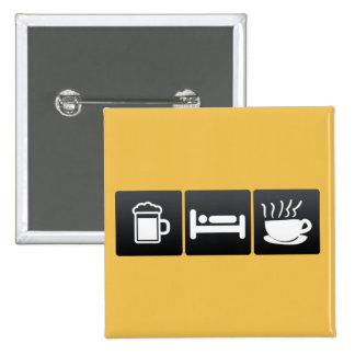 Drink, Sleep and Steaming Coffee 2 Inch Square Button