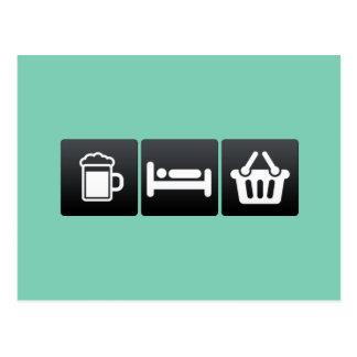 Drink, Sleep and Supermarkets Postcard