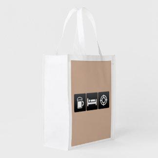 Drink, Sleep and target practice Grocery Bag