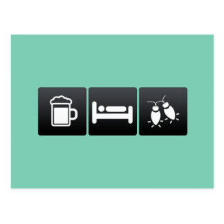 Drink, Sleep and Tree Lights Postcard