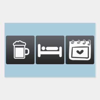 Drink, Sleep and Valentine�s Day Rectangular Sticker