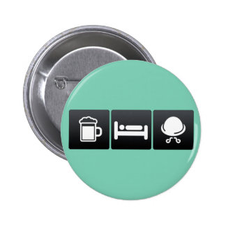 Drink, Sleep and Walrus Moustaches 2 Inch Round Button