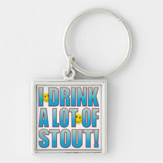 Drink Stout Life B Silver-Colored Square Keychain