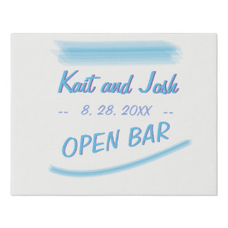Drink Table Sign Minimalist Soft Ambiance Blue