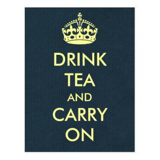 Drink Tea and Carry On Blue Natural Kraft Paper Postcards