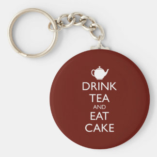 DRINK TEA AND EAT CAKE BASIC ROUND BUTTON KEYCHAIN