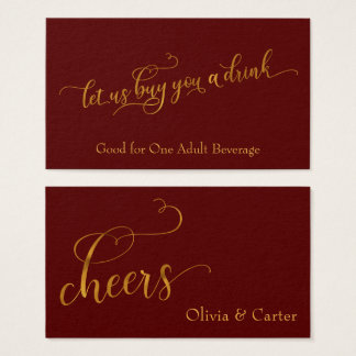 Drink Tickets, Elegant Gold Script & Editable Red Business Card