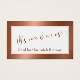 Drink Tickets | Elegant Script w/ Faux Copper Foil