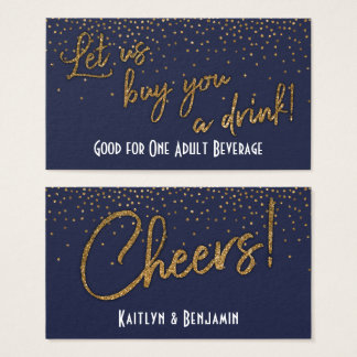 Drink Tickets, Gold Confetti on Midnight Blue Business Card