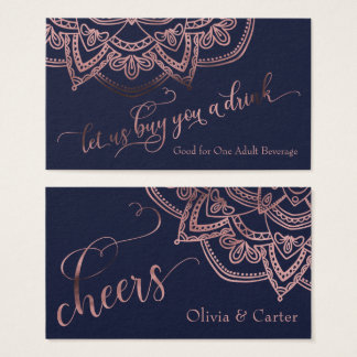 Drink Tickets, Rose Gold Mandala on Navy Blue Business Card