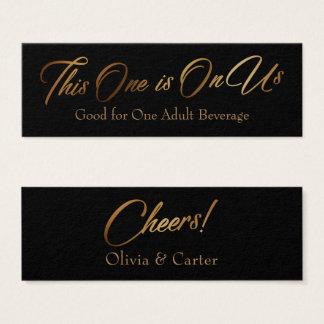 Drink Tickets, Slim, Elegant Gold Script on Black Mini Business Card