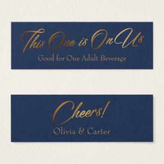 Drink Tickets, Slim, Elegant Gold Script on Navy Mini Business Card