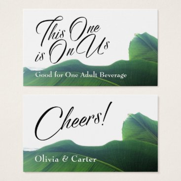 Beach Themed Drink Tickets with Tropical Green Banana Leaves