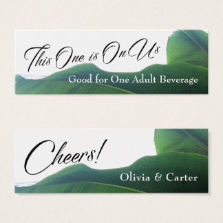 Drink Tickets with Tropical Green Banana Leaves