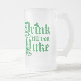 Drink Til You Puke Frosted Glass Beer Mug