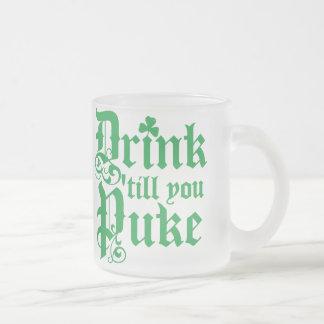 Drink Til You Puke Frosted Glass Coffee Mug