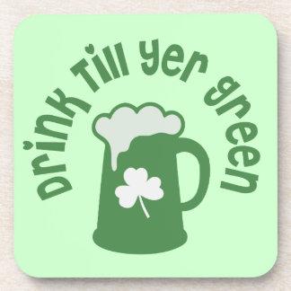Drink Till Yer Green Irish Drink Coaster