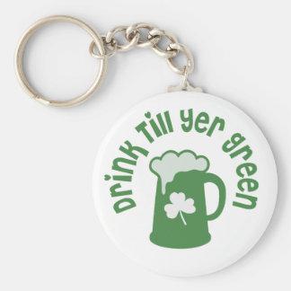 Drink Till Yer Green Irish Keychain