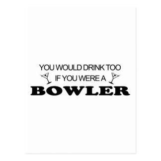 Drink Too - Bowler Postcard