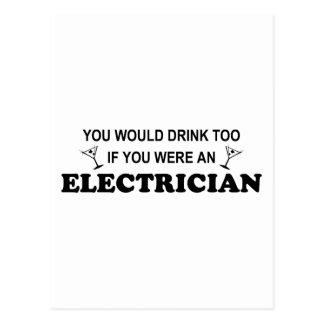 Drink Too - Electrician Postcard