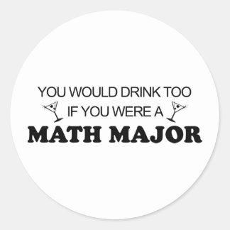Drink Too - Math Major Classic Round Sticker