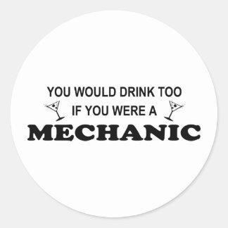 Drink Too - Mechanic Classic Round Sticker