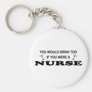 Drink Too - Nurse Basic Round Button Keychain