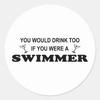 Drink Too - Swimmer Classic Round Sticker