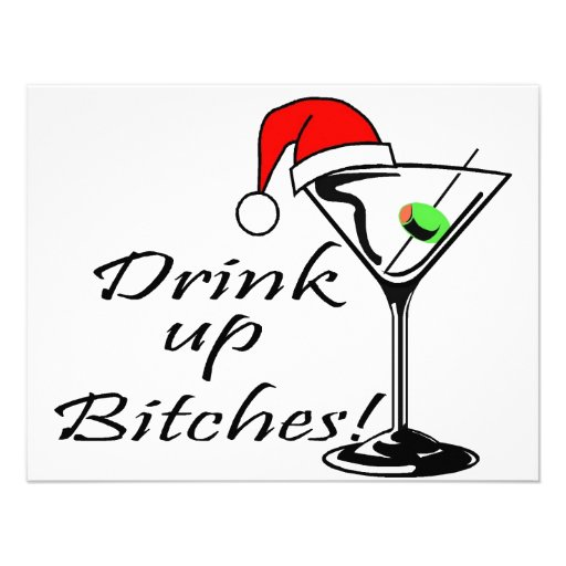 Drink Up Bitches Martini Personalized Announcement