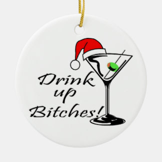 Drink Up Christmas Drink Double-Sided Ceramic Round Christmas Ornament