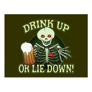 Drink Up Skeleton Postcard