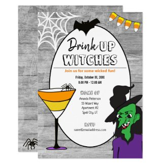 Drink Up Witches Halloween Party Invitation