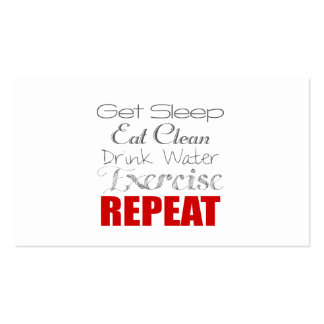 Drink Water, Exercise & Repeat Personal Coach Card Double-Sided Standard Business Cards (Pack Of 100)