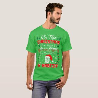 Drink Wine Pet Mastiff Christmas Ugly Sweater Tees