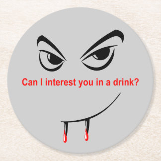 Drink With a Vampire Round Paper Coaster