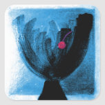 Drink with Cherry in Brite Blue Square Stickers