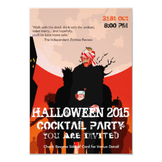 Drink with the undead, zombie Halloween invitation