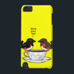 "Drink Your Tea! iPod Touch 5G Case<br><div class=""desc"">Sometimes birders use mnemonic devices to remember bird songs. A common song of the Eastern Towhee sounds a lot like he&#39;s singing &quot;drink your tea.&quot; This original design features a cute Birdorable pair of Eastern Towhees perched atop a fancy teacup. The male sings to his mate. You can customize this...</div>"
